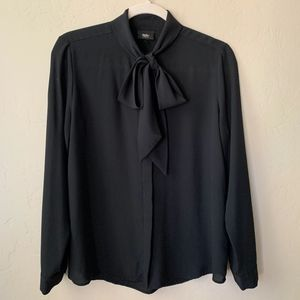 Black Long Sleeve Tie Blouse